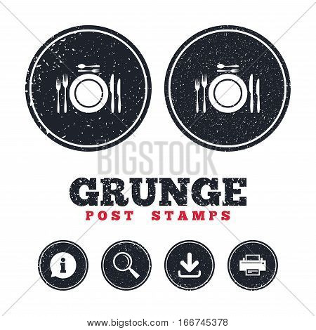 Grunge post stamps. Plate dish with forks and knifes. Dessert trident fork with teaspoon. Eat sign icon. Cutlery etiquette rules symbol. Information, download and printer signs. Vector