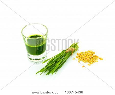 glass of green smoothie raw wheatgrass seeds of wheat