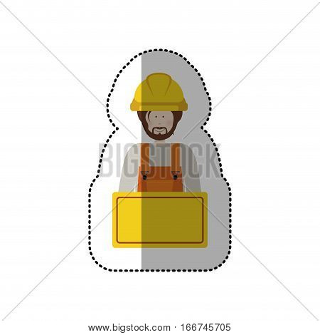 sticker half body worker with toolkit and palque vector illustration