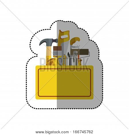 sticker toolkit inside of wooden box shading vector illustration