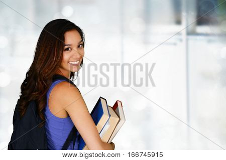 Young college student who is going to class