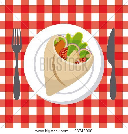 fork and knife and wrap with vegetebles. fast food concept. colorful design. vector illlustration