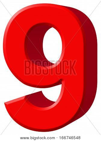 Numeral 9, Nine, Isolated On White Background, 3D Render