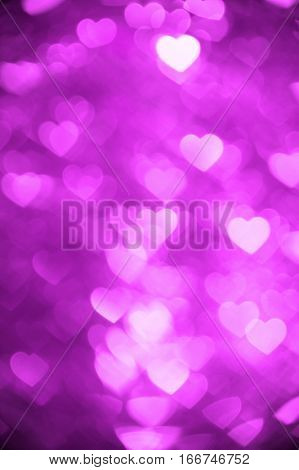 Magenta color heart bokeh background photo. Abstract holiday, celebration backdrop. poster