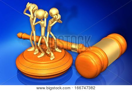 See No Evil Hear No Evil Speak No Evil Legal Gavel Concept With The Original 3D Character Illustration