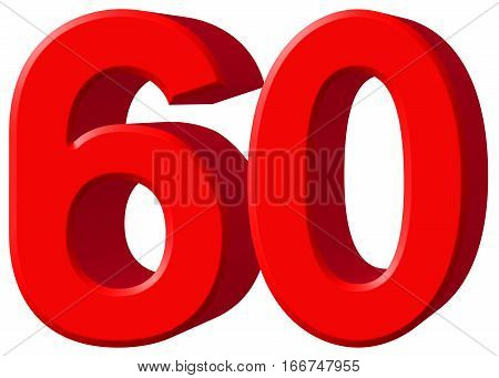 Numeral 60, Sixty, Sixty, Isolated On White Background, 3D Render
