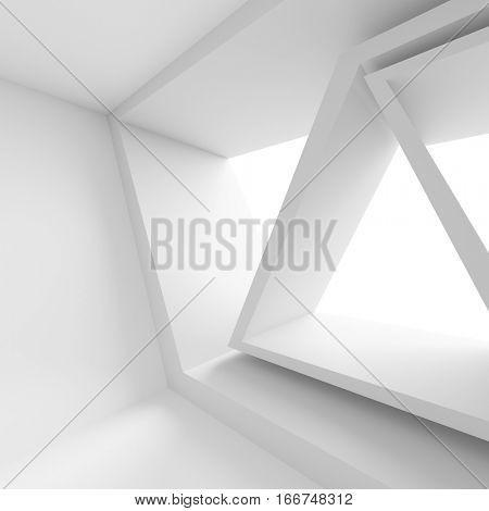 3d Render of White Building Construction. Abstract Futuristic Architecture Background. Minimal Office Interior Design. Empty Room with Window. Geometric Shapes Structure