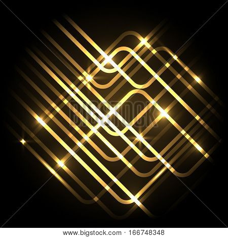 Abstract neon gold background with lines, stock vector