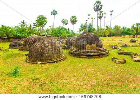 Jaffna Kandarodai Dagobas Stupas Grass Field H