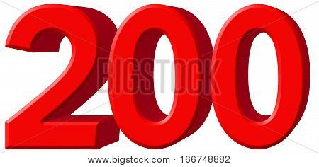 Numeral 200, Two Hundred, Isolated On White Background, 3D Render
