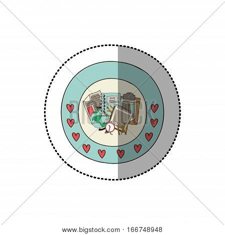 colorful sticker with circular border with hearts and study tools vector illustration