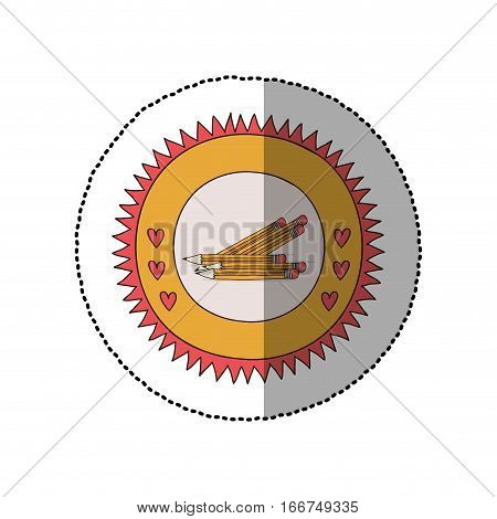 colorful sticker in sun shape with hearts and several pencil vector illustration