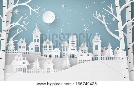 Winter Snow Urban Countryside Landscape City Village with ful lmoonHappy new year and Merry christmaspaper art and craft style.