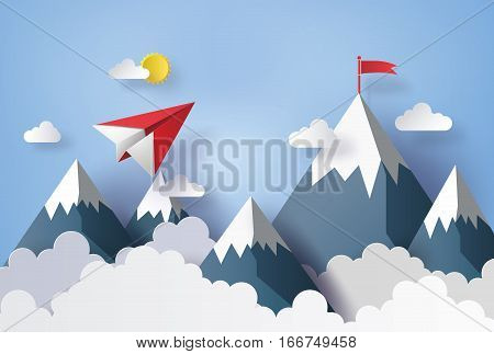 concept of businesspaper plane flying on sky with cloud and mountian.design by paper art and craft style