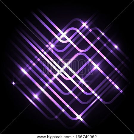 Abstract neon purple background with lines, stock vector