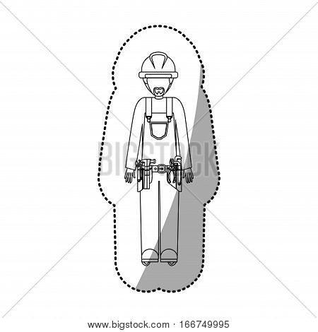 sticker contour man worker with toolkit and beard vector illustration