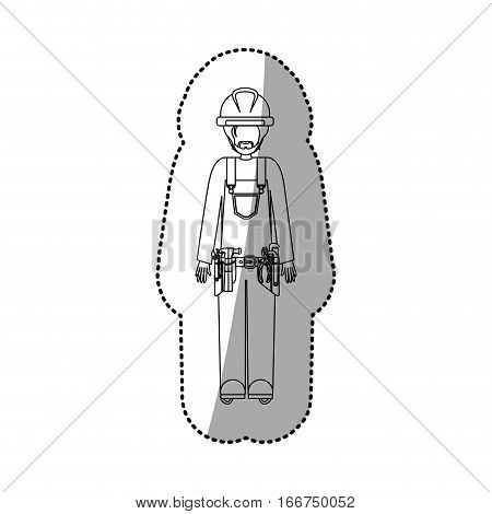 sticker contour guy worker with toolkit and beard vector illustration