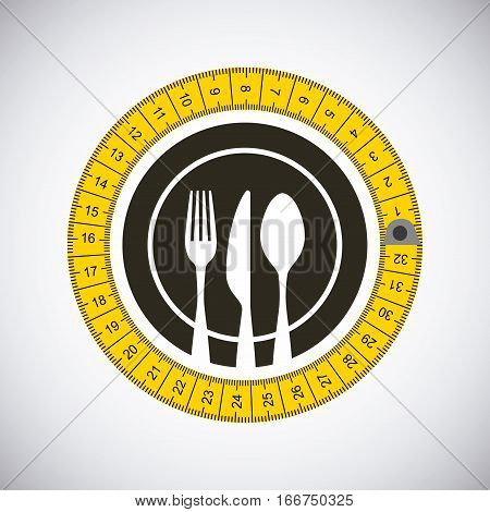 measure tape around emblem with silverware over white background. colorful design. vector illustration
