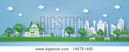 illustration of landscape with building and nature concept of eco friendly and save the earth .paper art style