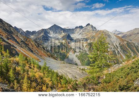 Beautiful Autumn Landscape, Altai Mountains Russia.