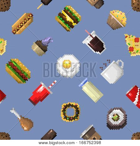 Seamless pixel breakfast pattern vector illustration. Fast food computer design symbol retro game web graphic. Restaurant pixelated element background.