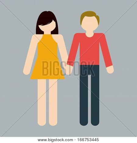 faceless heterosexual couple woman in dress man with shirt and pants icon image vector illustration design