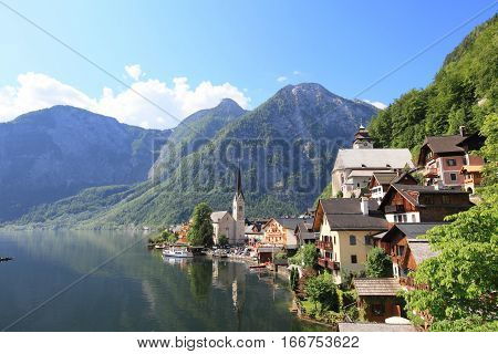 Hallstatt See Lake and old town in Austria, UNESCO World Heritage Site