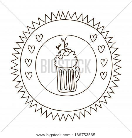 monochrome silhouette in circular frame with foamy beer glass and cherrys . Vector illustration