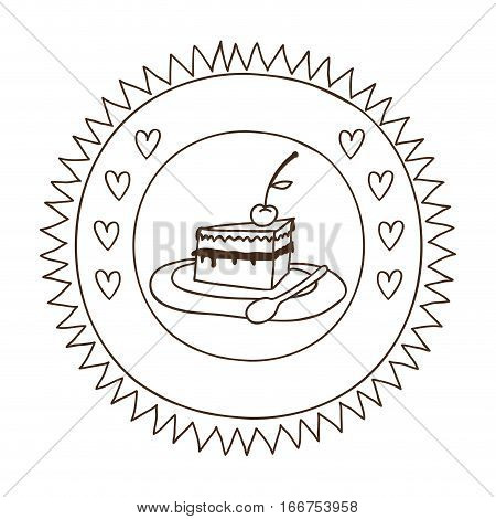 monochrome silhouette in circular frame with pie portion with cherry vector illustration