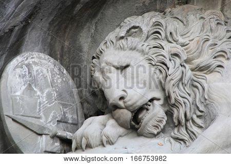 LUZERN, SWITZERLAND - NOV 11, 2015: Luzern dying lion monument on Nov 11, 2015 in Luzern, Switzerland. The monument is a Swiss heritage of national significance.