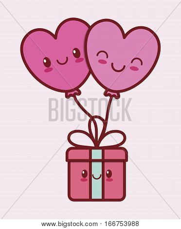giftbox valentines day related kawaii style icon image vector illustration design