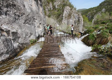 PLITVICE - MAY 1, 2013: Plitvice national park on May 1, 2013 in Plitvice, Croatia. It is full of waterfalls and is a UNESCO world heritage site.