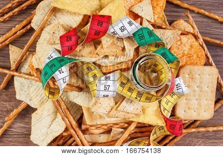 Centimeter With Salted Crisps, Cookies And Breadsticks, Concept Of Unhealthy Food And Slimming