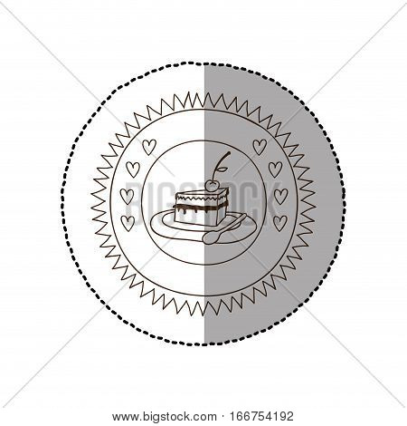 monochrome circular frame with middle shadow sticker with pie portion with cherry vector illustration