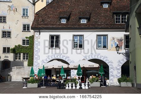 CHUR, SWITZERLAND - NOV 10, 2015: Historic centre of Chur on Nov 10, 2015 in Chur, Switzerland. Chur is one of the oldest cities in Switzerland.