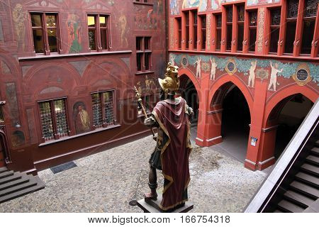 BASEL, SWITZERLAND- Nov 17, 2015: Basel Town Hall on Nov 17, 2015 in Basel, Switzerland. It is a landmark and unesco world heritage site in Switzerland.