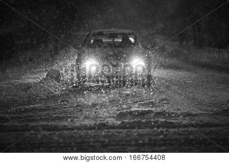 Car In Blizzard Black And White