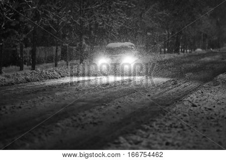 Car In Snowy Traffic Black And White
