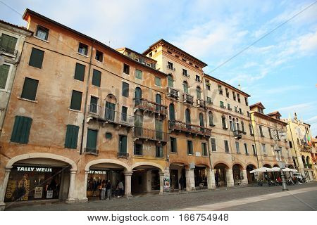 BASSANO DEL GRAPPA, ITALY - OCT 7, 2016: Historic market square at Bassano del Grappa, Italy on Oct 7, 2016. It is a landmark city in the province of Vicenza.