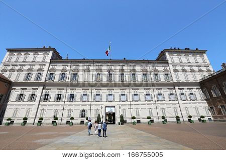 TURIN, ITALY - OCTOBER 3, 2011: Palazzo Reale on October 3, 2011 in Turin, Italy. Palazzo Reale is a landmark palace and unesco world heritage in Northern Italy.