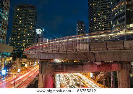 City scape of Silom town in Bangkok twilight scene in trafic jam