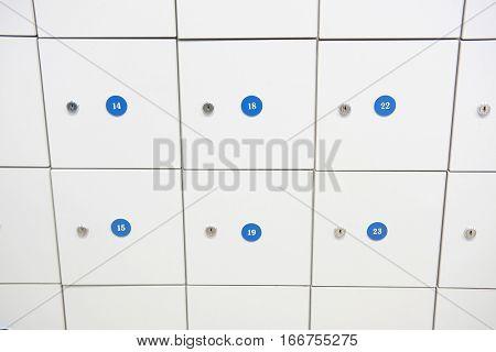 Locker room in fitness club