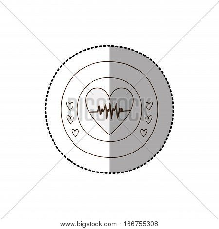 monochrome circular frame with middle shadow sticker with heart with signs of life vector illustration