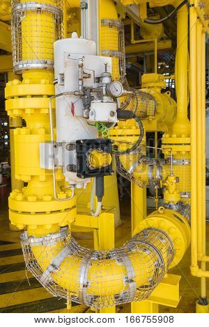 Shut down valve ( SDV ) the valve will automatic close when emergency it install all inlet and outlet process gas and crude oil