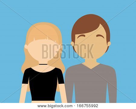 young fashionable faceless heterosexual couple icon imagevector illustration design