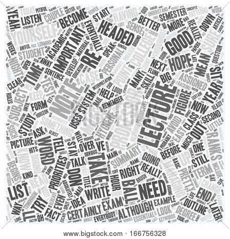 How To Take Lecture Notes text background wordcloud concept
