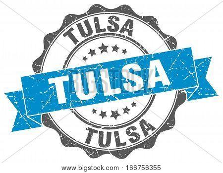 Tulsa. round isolated grunge vintage retro stamp