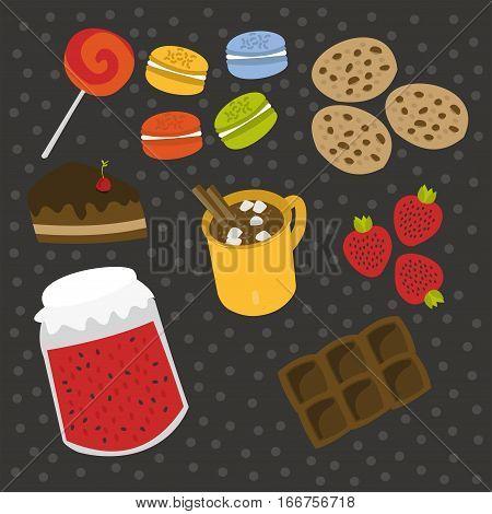 Vector set of elements of sweetness! Bon appetit!