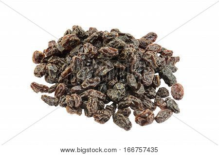 brown raisins are isolated on white background