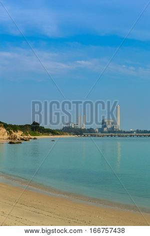 Sai Thong Beach And Sea With Electrical Power Plant , Rayong, Thailand